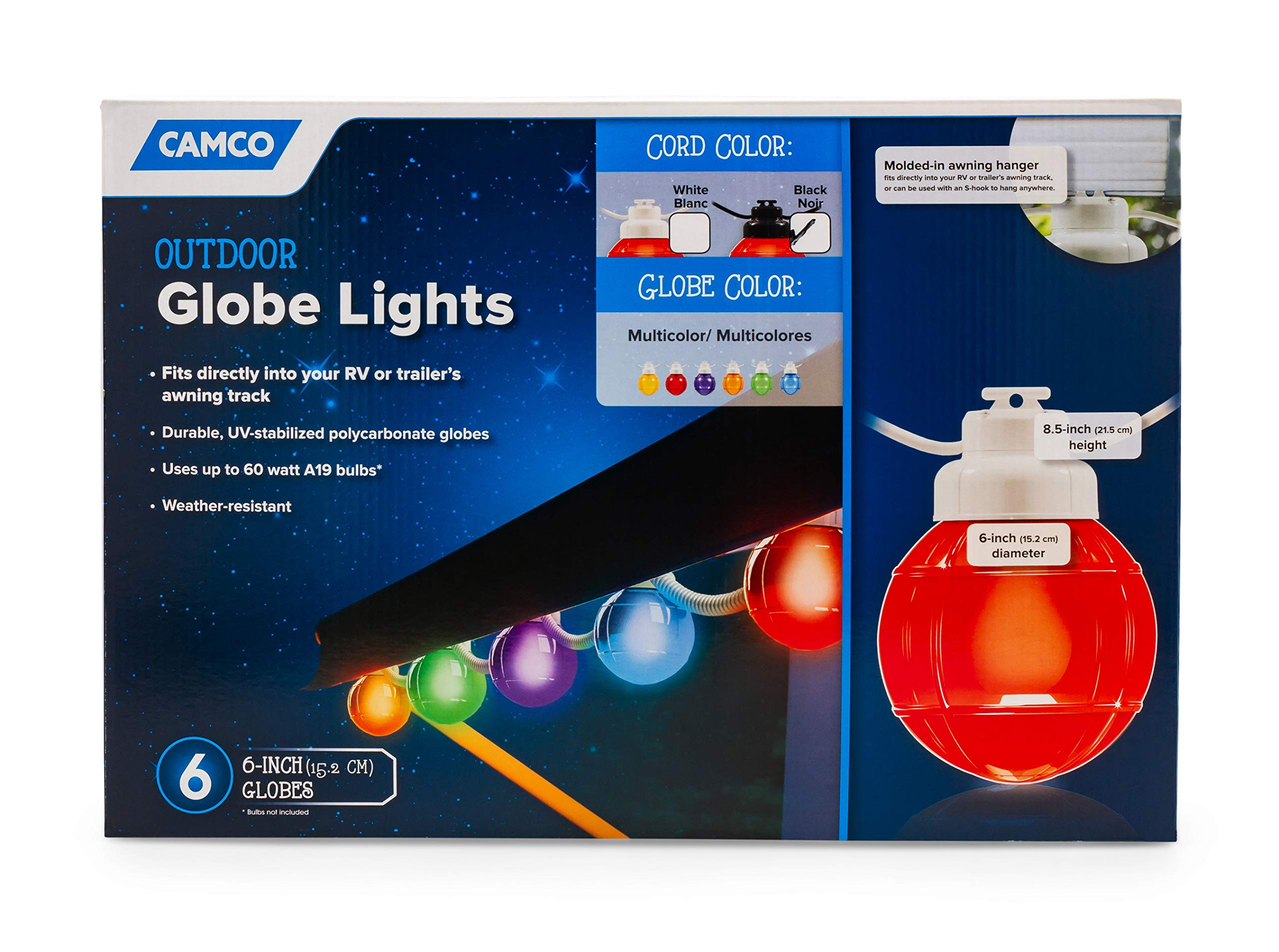 Camco 42760 Decorative RV Awning Globe Lights -6 Multicolor Globes on Black Wire,  Fits Directly into Your RV Awning Track, Great  for Outdoor Events