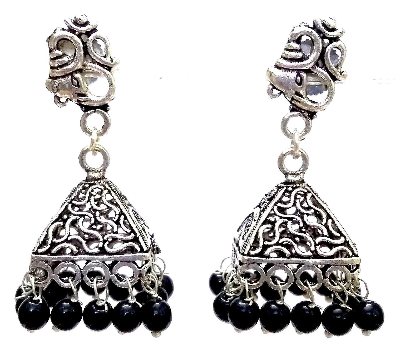 DESI HAWKER Silver Oxidized Earring Bali Jhumki Jhumka Jewelry Bollywood Drop Dangle Pyramid Chandelier OM Ganesh NI-159
