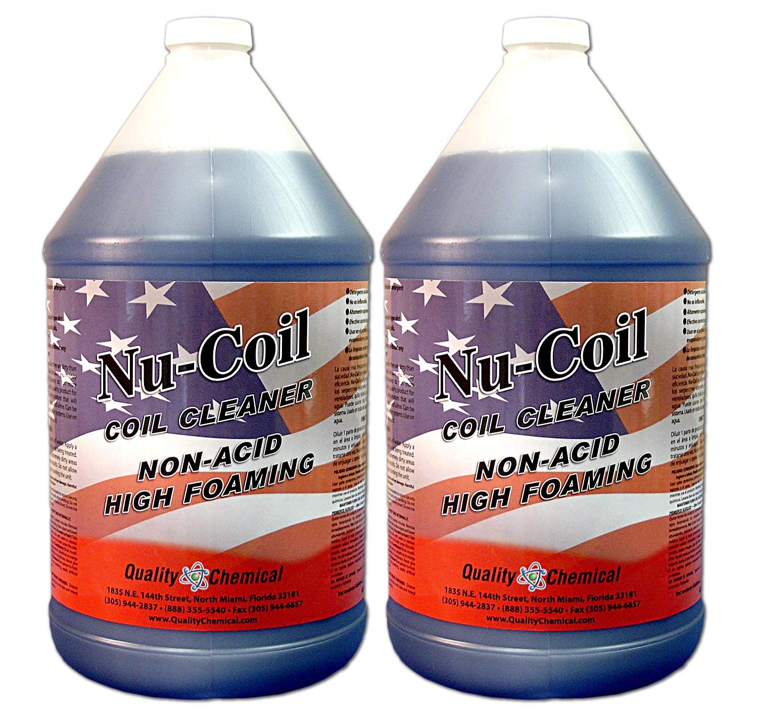 Nu-Coil Professional Grade Concentrated Air Conditioner Alkaline Condenser Coil Cleaner-2 gallon case by Quality Chemical