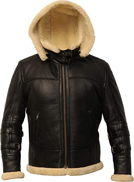 B3 Bomber Hoodie Real Shearling Black Leather Aviator Jacket Removable Hood