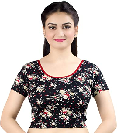 Indian Bollywood Ethnic Flower Print Black Color Sari Blouse Wedding Night Wear