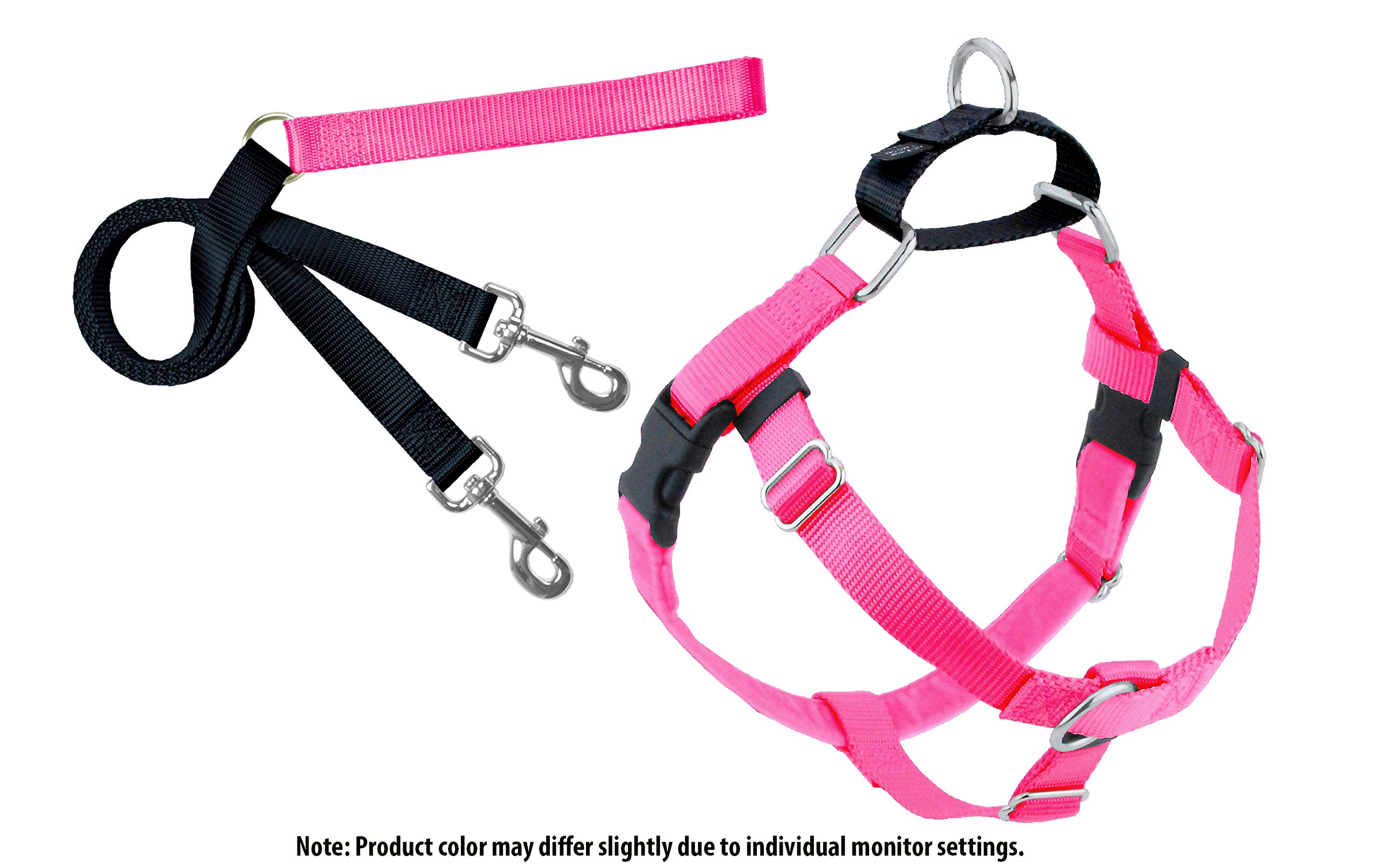 2 Hounds Design Freedom No-Pull Dog Harness and Leash, Adjustable Comfortable Control for Dog Walking, Made in USA (Medium 1'') (Hot Pink)