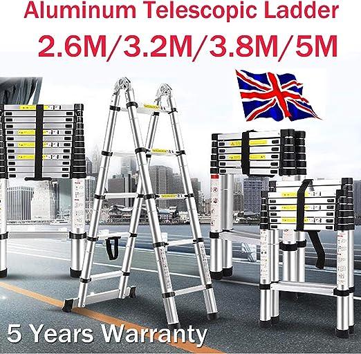 Pliable Échelle Aluminium Télescopique Pliante Escabeau En Multifonctions 2.6M