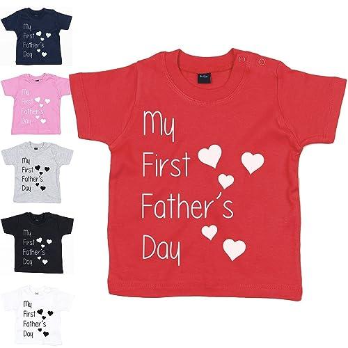 391a3574 MYOG © My First Fathers Day Baby T Shirt Romper Cute Gift Dad Daddy Newborn  Tee HEARTS: Amazon.co.uk: Handmade