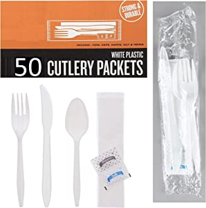 50 Plastic Cutlery Packets - Knife Fork Spoon Napkin Salt Pepper Sets | White Plastic Silverware Sets Individually Wrapped Cutlery Kits, Bulk Plastic Utensil Cutlery Set Disposable To Go Silverware