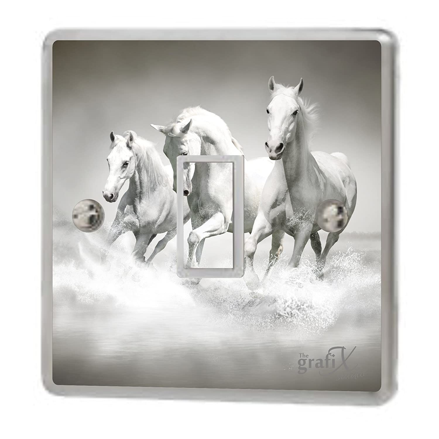 the grafix studio Horses Pattern Single Light Switch & Double Switch Sticker Vinyl/Skin cover sw140