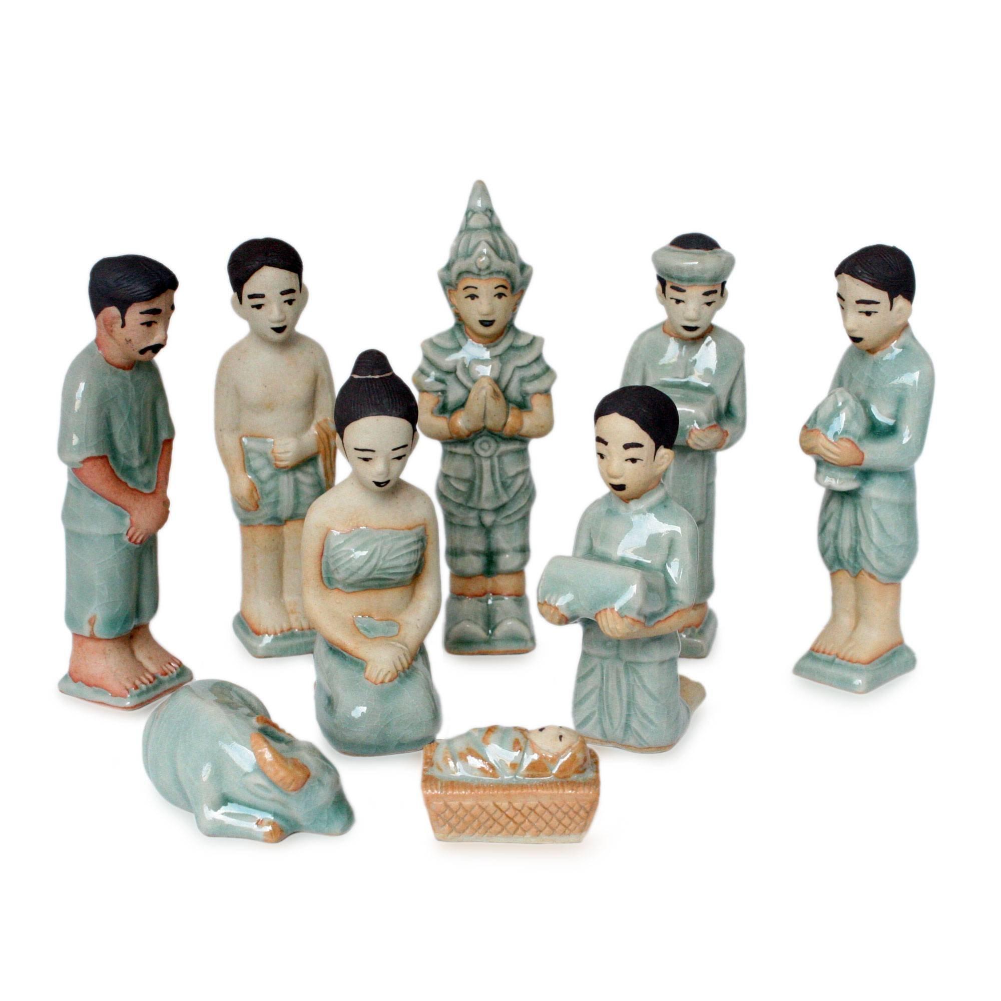 NOVICA Blue Handmade 181675'' Thai Christmas Celadon Ceramic Nativity Scene Figurine, Set of 9
