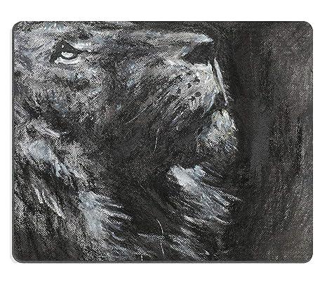 Tony Natural Rubber Mousepad Mano Dibujado Vista Lateral del león Buscando carbón y técnica en Colores