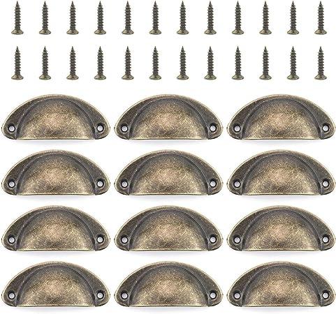 Lot de 12 x Laiton Antique Style diamètre 35 mm Armoire Poignées de porte