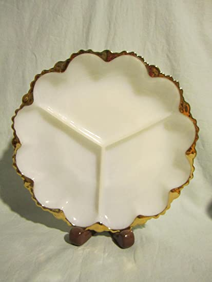 Amazoncom Vintage Anchor Hocking Fire King Milk Glass Divided