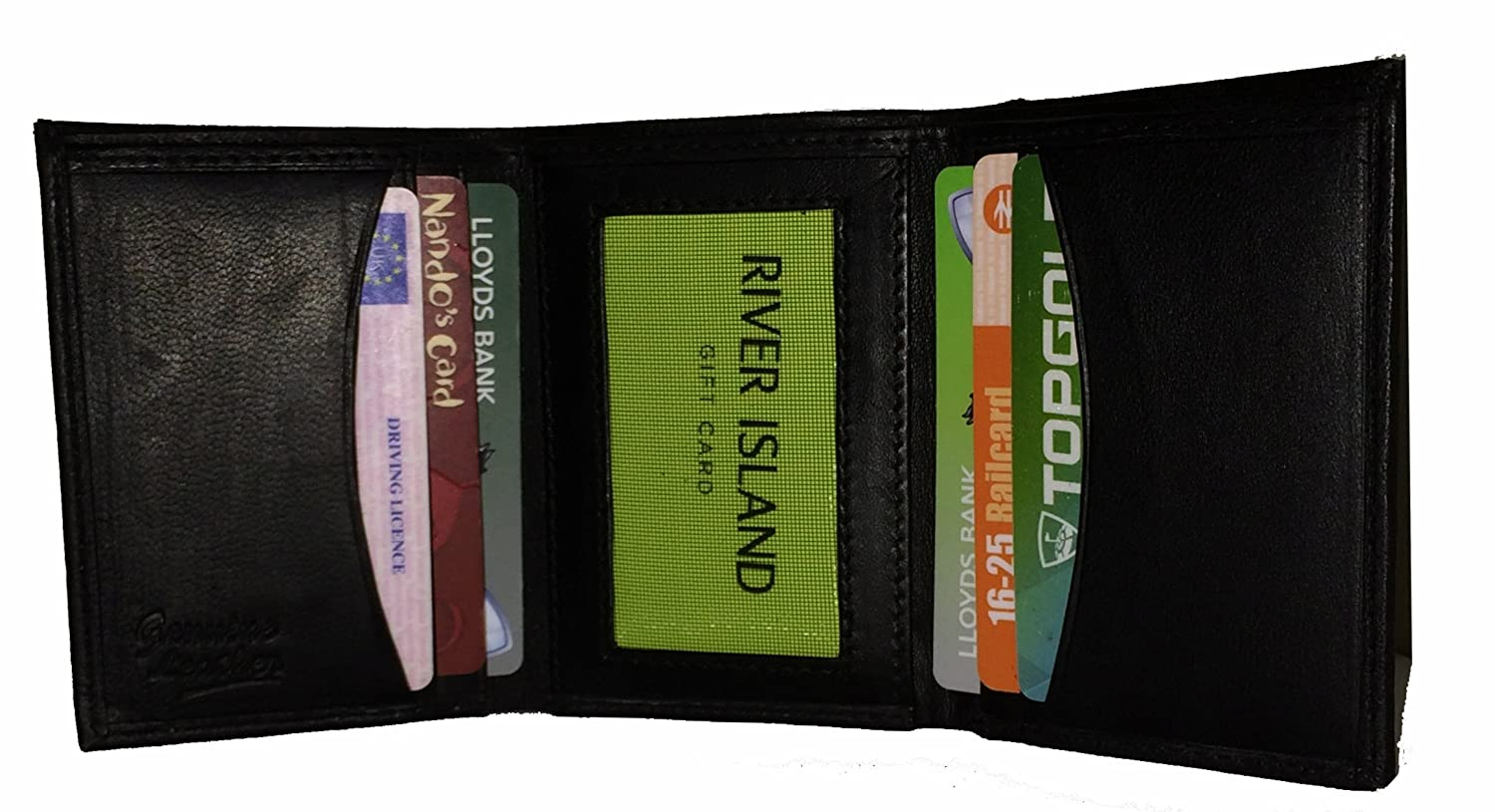Men's Trifold Real Leather Wallet Card Holder in Black, holds up to 7 Cards, Photo ID, slim design by AOS