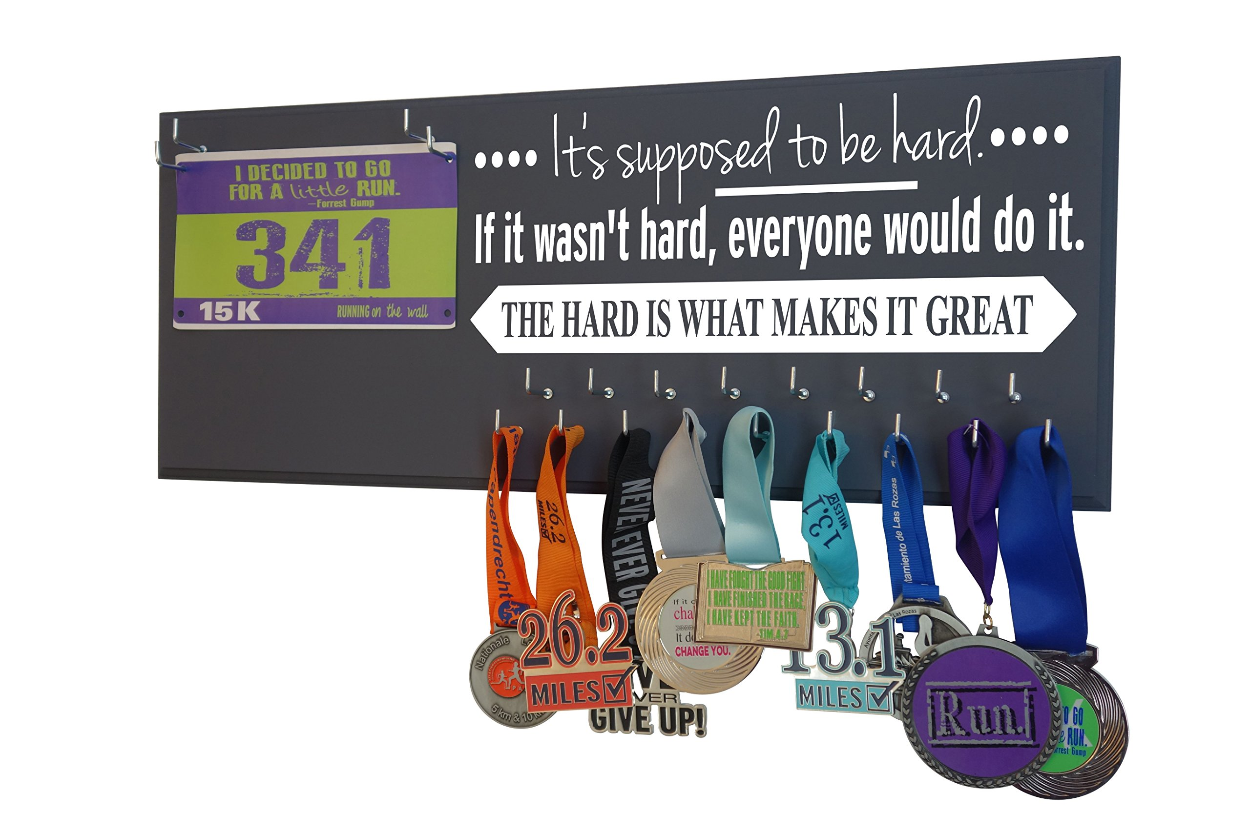 Running On The Wall - Race Bib and Medal Display - Inspirational Quote - Wall Mounted Medal Holder and Hanger for 5Ks, 10Ks, Marathons, Triathlons and More
