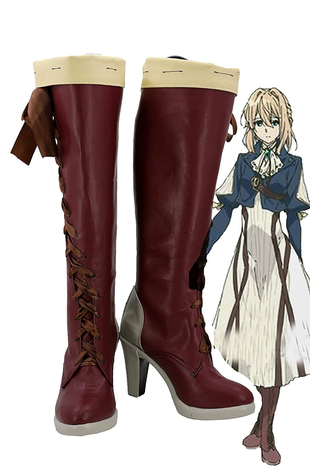 Telacos Violet Evergarden Violet Cosplay Shoes Boots Custom Made Red 2 5 D(M) US Male