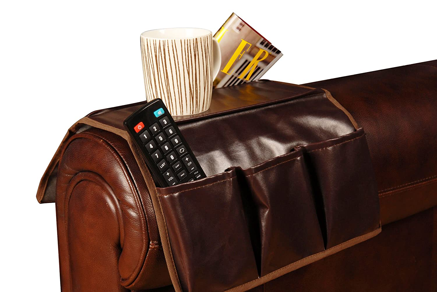 Artis Faux Leather 4 Pocket Brown Sofa Couch Arm Chair Rest Remote ...