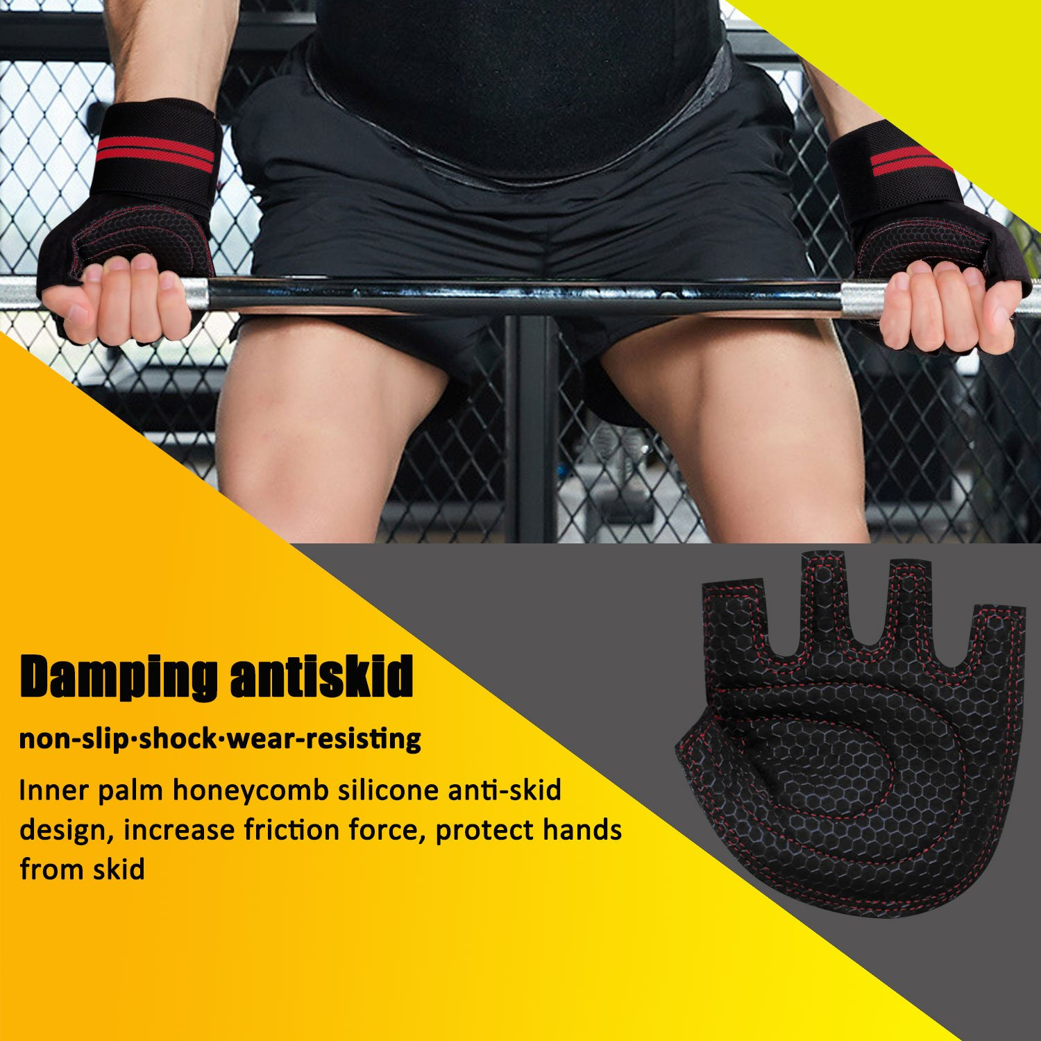 Innens Workout Gloves for Men and Women Perfect for Workout Exercise Training Fitness Weight Lifting Gloves Gym Gloves with Built-in Wrist Wraps Support and Anti-Slip Palm