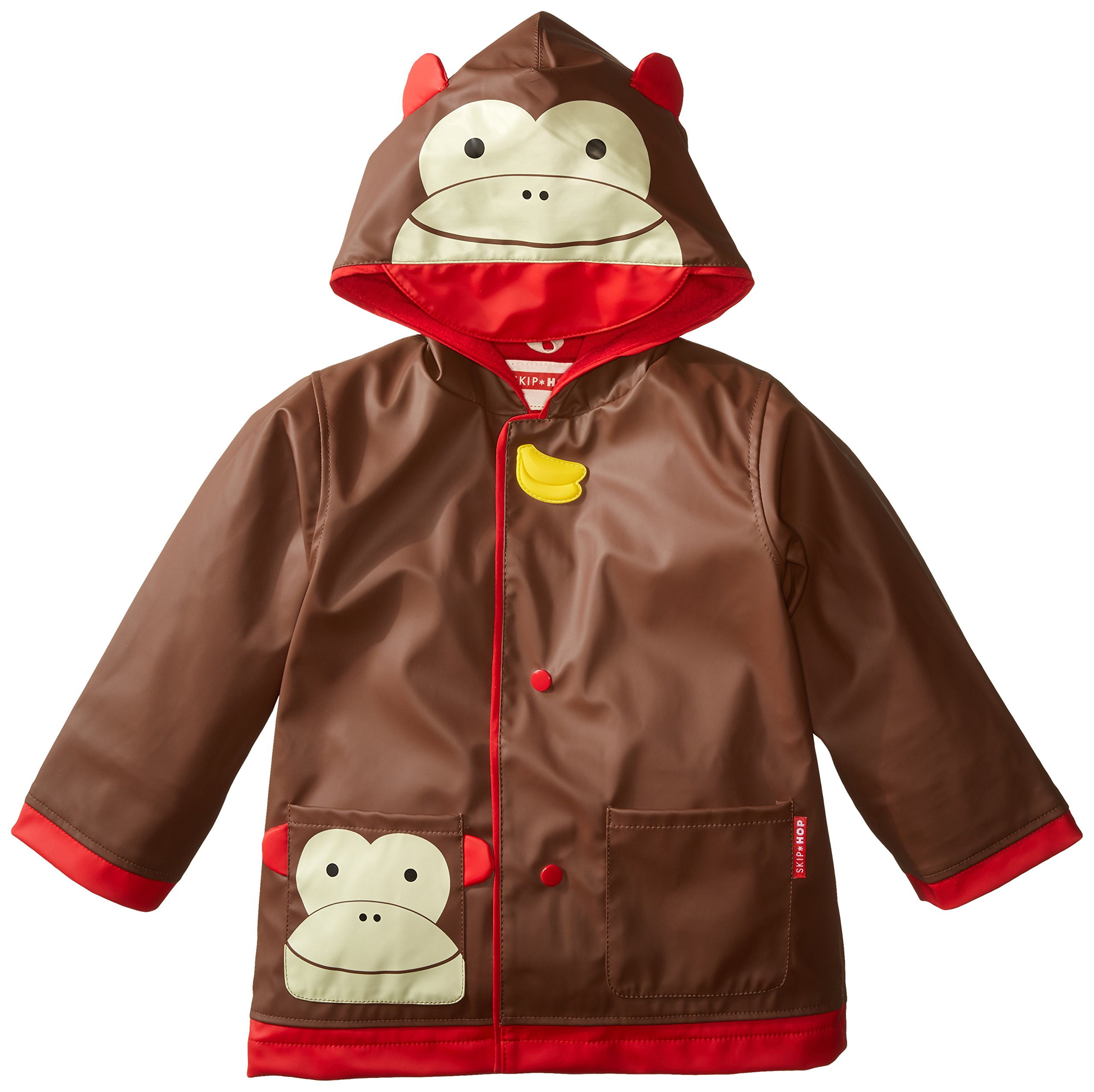 Skip Hop Zoo Little Kid and Toddler Hooded Rain Jacket, Medium, Multi Marshall Monkey by Skip Hop