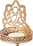eCraftIndia Goddess Laxmi Aluminum Tea Light Holder (7.62 cm x 7.62 cm x 10.16 cm, Gold)