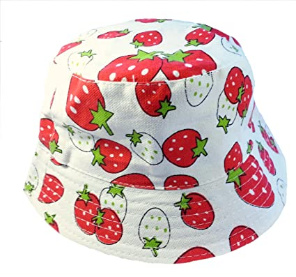 06a4ef1b Kids Girls Canvas Cotton Sun Hat Bucket White with Strawberry Age 3 4 5 6:  Amazon.co.uk: Clothing