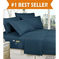 4-Piece Queen- Smart Sheet Set! Luxury Soft 1500 Thread Count Egyptian Quality Wrinkle and Fade Resistant with Side Storage Pockets on Fitted Sheet, Queen, Navy Blue