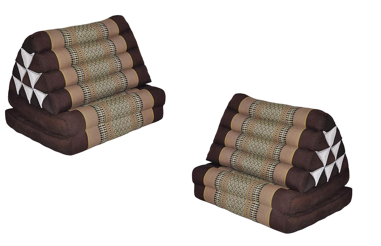 Wilai GmbH Set di 2 Cuscini Triangolo Thai con Piccolo Materasso 2 Pieghe, Fabbricato in Thailandia, Marrone/Beige (2×82402) Prezzi offerte