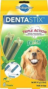 PEDIGREE DENTASTIX Dental Dog Treats for Large Dogs Fresh Flavor Dental Bones, 5.19 oz.(Pack of 7)