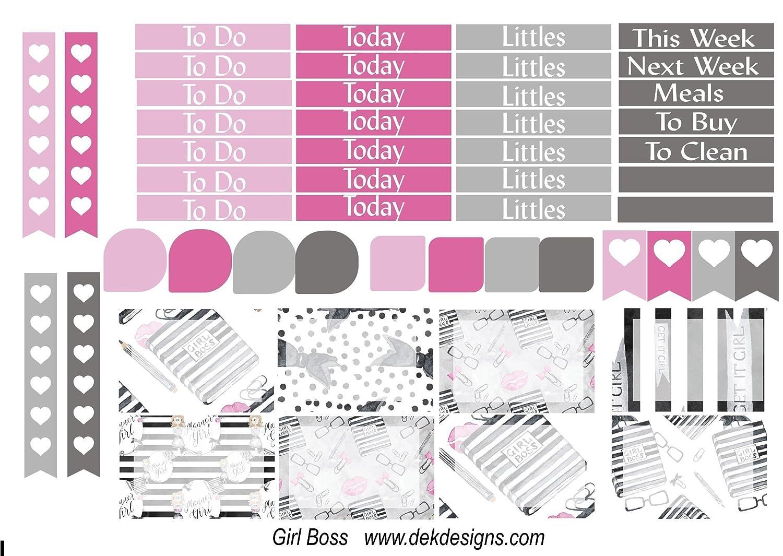 Girl Boss 6 sheets on matte Kiss cut Planner Calendar sticker kit just peel and stick. Erin Condren and Happy Planner sizes