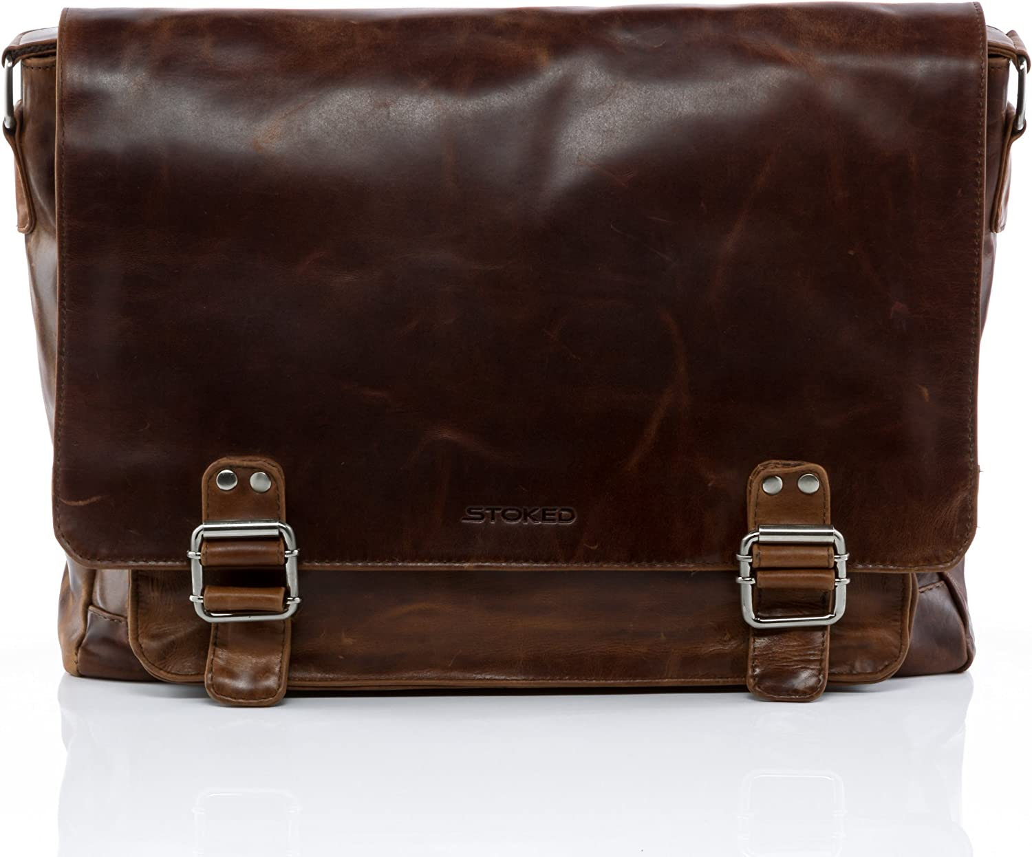 STOKED large messenger bag NATHAN – Shoulder bag fits 15 , iPad – notebook-bag brown leather