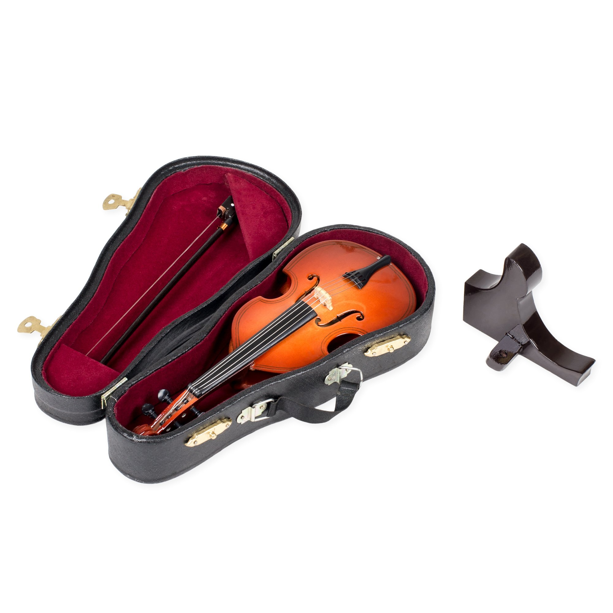Upright Bass With Stand And Case Mahogany Tone 6 x 7.5 Wood Music Box Figurine