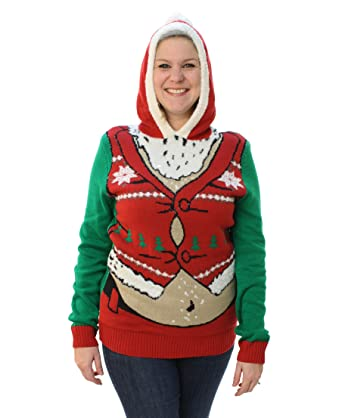d7fcaa87f08 Ugly Christmas Sweater Plus Size Women s Fat Santa Hooded Pullover  Sweatshirt-Medium Jolly Green