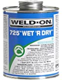Weld-On 10167 Aqua Blue 725 Medium-Bodied Wet 'R Dry PVC Professional Industrial-Grade Cement, Extremely Fast-Setting, Low-VOC, 1/2 pint Can with Applicator Cap