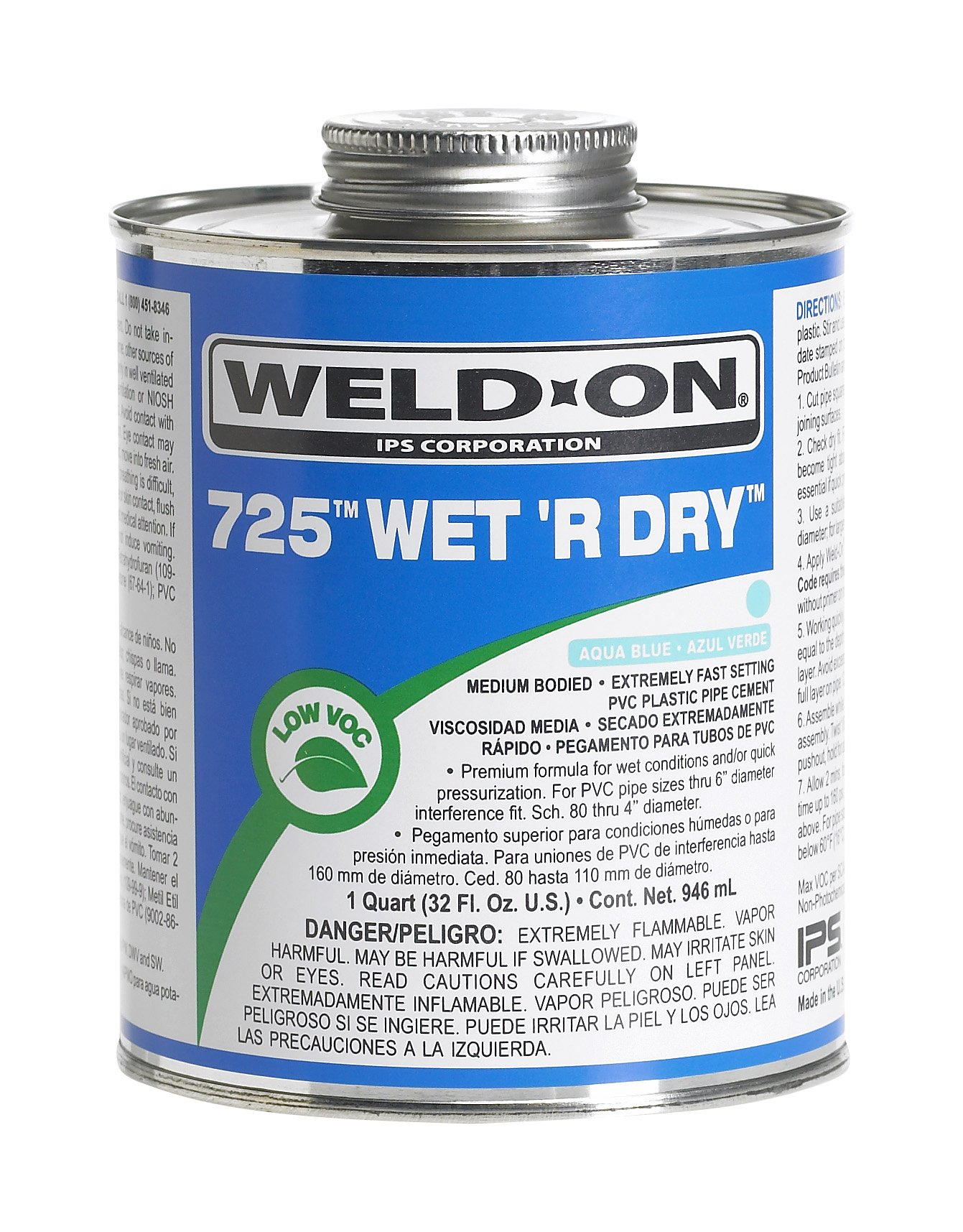 Weld-On 10850 Aqua Blue 725 Medium-Bodied Wet 'R Dry PVC Professional Industrial-Grade Cement, Extremely Fast-Setting, Low-VOC, 1/4 pint Can with Applicator Cap