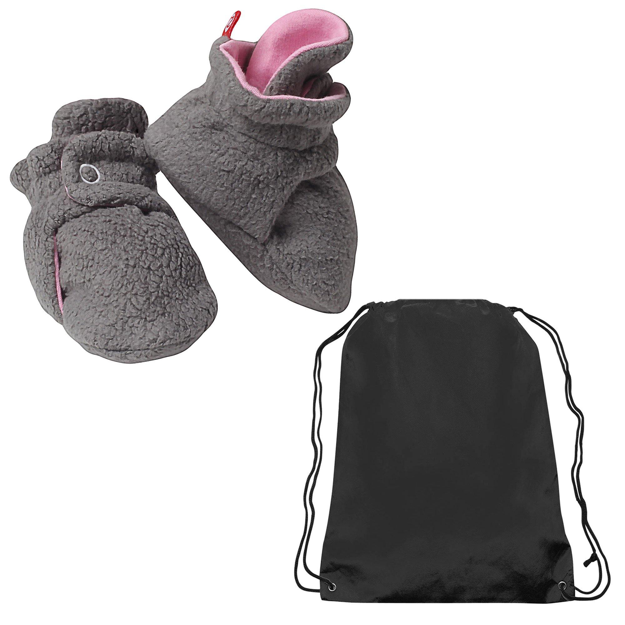 Zutano Booties Baby Girls Fleece Slipper Socks and Toy Bag Gray / Pink 12 Mth by Zutano