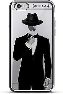 Luxendary Tuxedo & Hat On Apple Design Chrome Series Case For IPhone 6/6S Plus - Chrome / Silver