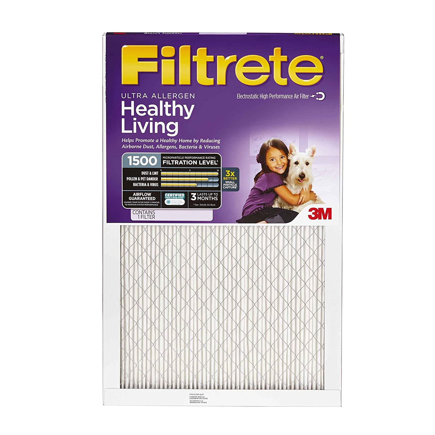 Filtrete 20x20x1, AC Furnace Air Filter, MPR 1500, Healthy Living Ultra Allergen, 4-Pack