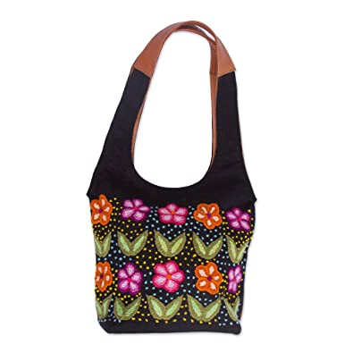 Novica Leather and wool accent jute shoulder bag, Flowered Love