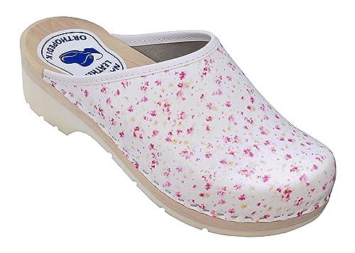 1df0cd916e4b Relaxen Femme Sabots Bois Chaussures Cuir Mules à Talons en Bois avec  Couleurs Blanc Noir   Taille 36-41   Modele DA07  Amazon.fr  Chaussures et  Sacs
