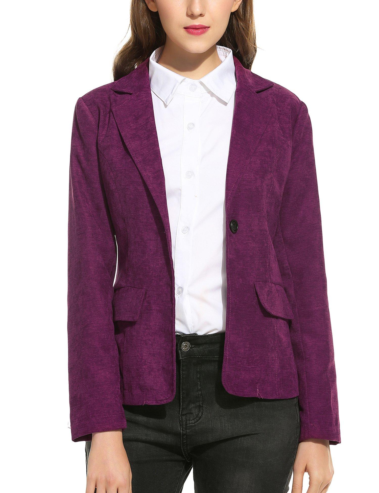 SE MIU Womens Casual One Button Work Office Corduroy Blazer Jacket Slim Suits Coat, Purple, Small