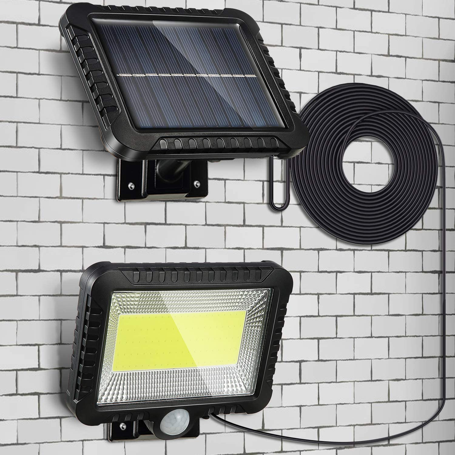 Solar Lights Outdoor, Waterproof Human Body Induction Solar Powered Wall Lamp 100 LED Spotlight, 5 m/ 16.4 ft Cord Easy-to-Install Security Lights with Adjustable Solar Panel for Garden Garage