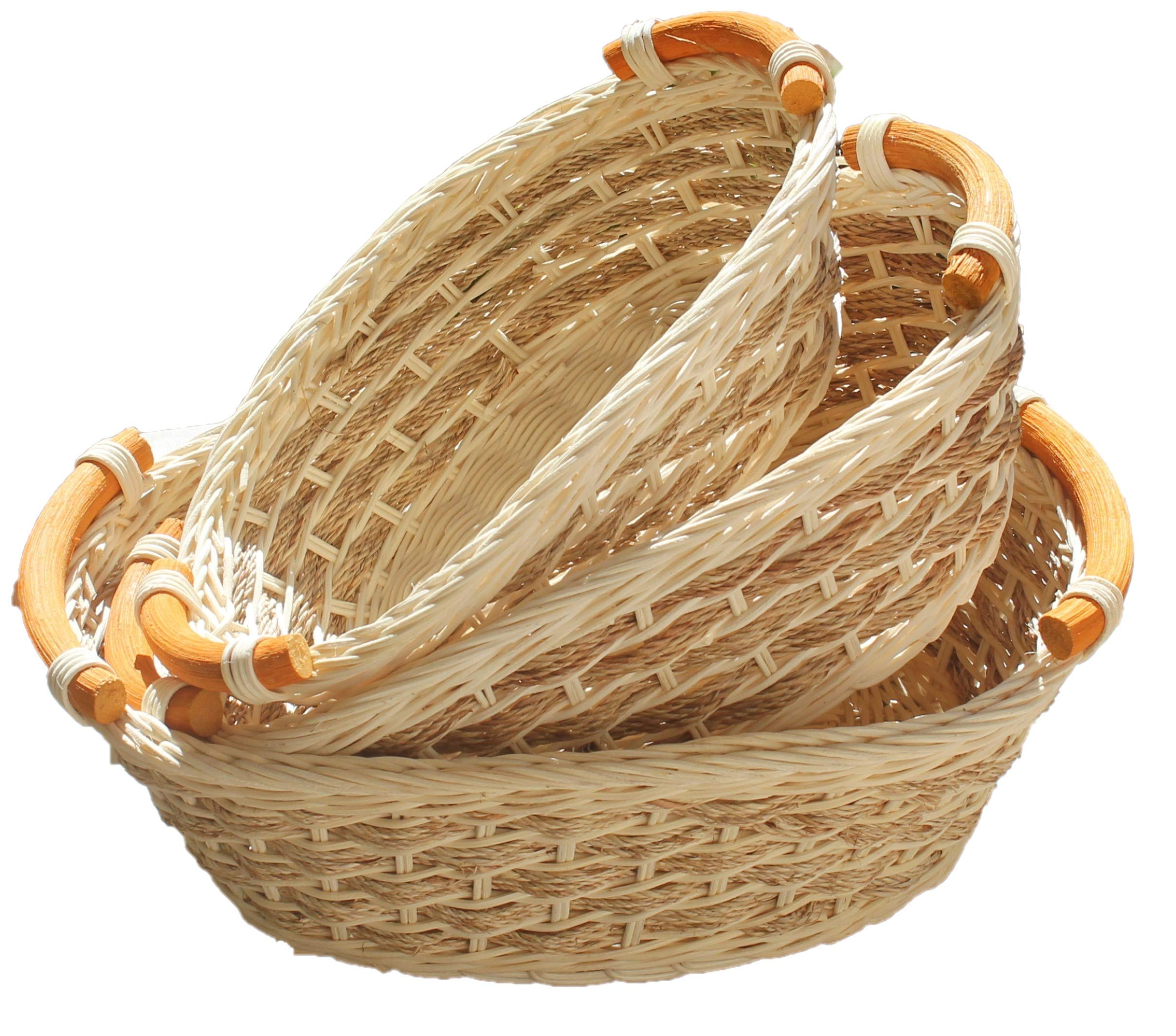 ShopOnNet RT450110-3 Handwoven Wicker Storage Basket Curve Pole Handle in Cream and Sand (Set of 3) - These are handmade eco-friendly wicker storage basket. These baskets are stackable, making storage easy and convenient. Made with durable rattan/Wicker material and each comes with a curve pole handle on each end of the basket. These wicker storage baskets are ideal to have at the dining table for holding bread or bake goods or for holding extra utensils for unexpected guests. They are also perfect to have in the kitchen or bathroom for holding napkins, cotton balls or other beauty tools and products. - living-room-decor, living-room, baskets-storage - 81tsn8IdkKL -