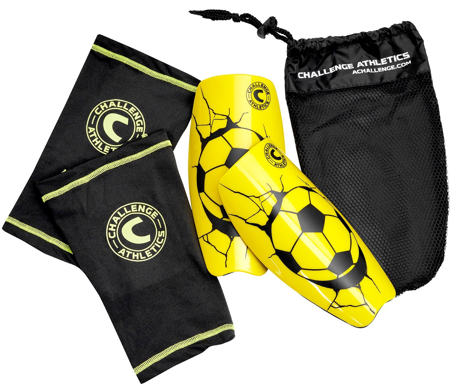 American Challenge Serie A Shin Guard with圧縮スリーブ B0785X1QX9イエロー X-Large