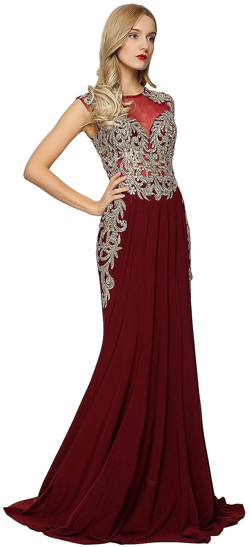 41765815 Amazon.com: Meier Women's Sleeveless Gold Embroidery Evening Formal Dress:  Clothing