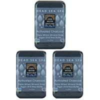 DEAD SEA Salt CHARCOAL SOAP 3 pk – Activated Charcoal, Shea Butter, Argan Oil. For...
