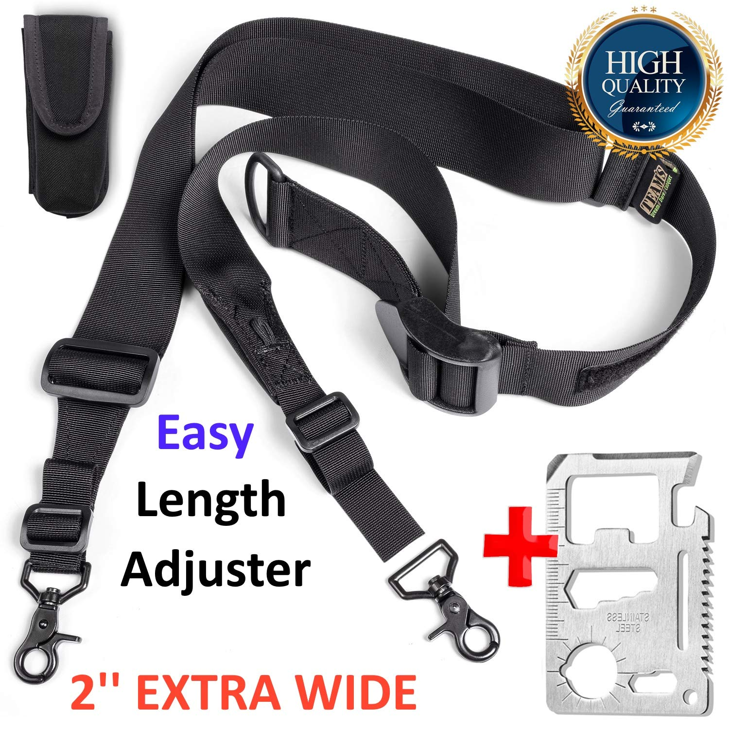 Team's Easy Length Adjustment Rifle Sling- Fits Any Gun,2 Point Hunting Gun Strap, 2'' Extra Wide Srtap|Strong Hooks| Adjustable Length 40''-59''+Free Bonus (Fast Loop) by Team's