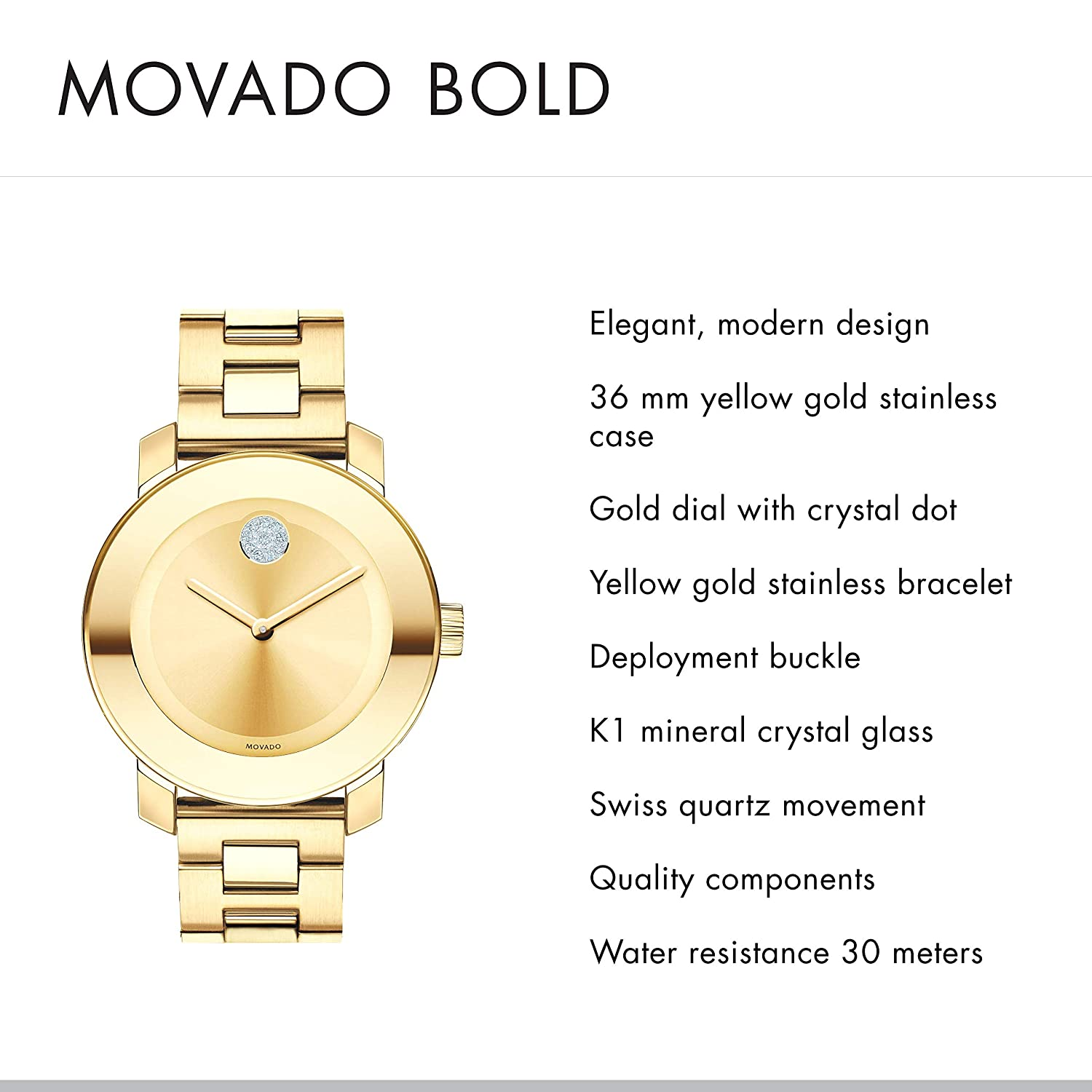 f37077eb1e7 Amazon.com  Movado Women s BOLD Iconic Metal Yellow Gold Watch with a Flat  Dot Sunray Dial