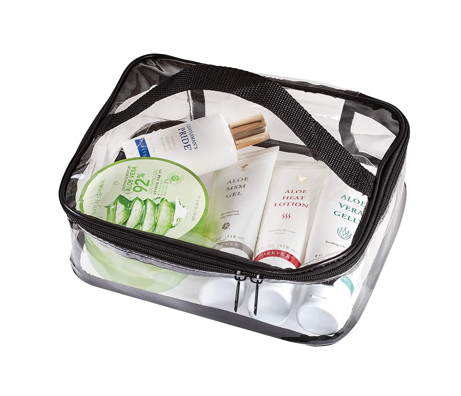 Amazon.com : Clear Travel Cosmetic Bag Makeup Pouch, Train Case Organizer with Top Handle (Large) : Beauty