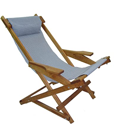 Awesome Wooden Folding Rocking Chair With All Weather Sling Blue Check Gmtry Best Dining Table And Chair Ideas Images Gmtryco
