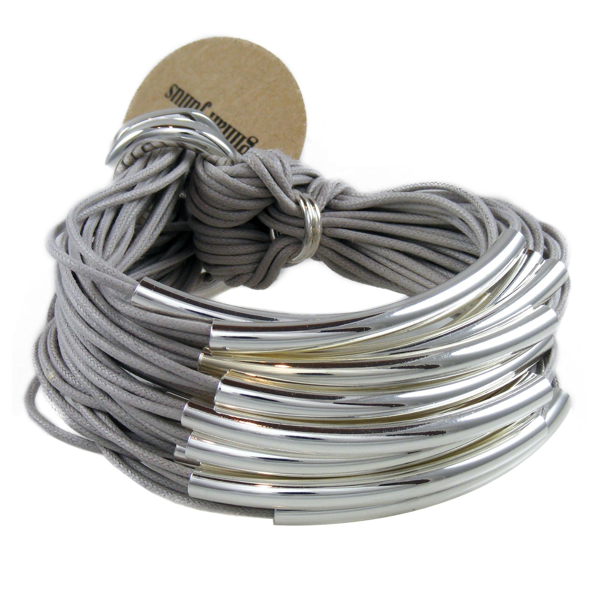 Gillian Julius Multi Tube Bracelet in Silver and Ice Grey