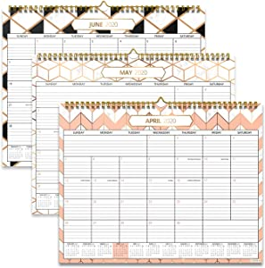 "Wall Calendar 2020-2021 - 11"" x 15"" - Runs from April 2020 to July 2021 - Gold & Pink Marble, Geometric, Art Deco Theme with Thick Paper - Academic Year Calander"