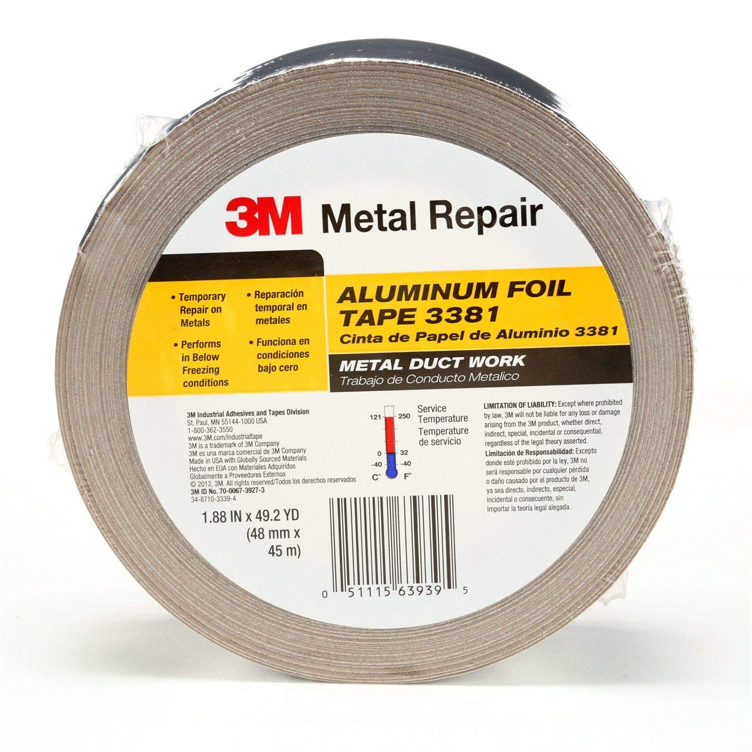 3M Aluminum Foil Tape 3381, 1.88 in x 50 yd, 2.7 mil, Silver, HVAC, Sealing and Patching, Moisture Barrier, Cold Weather, Air Ducts, Foam Sheathing Boards, Insulation, Metal Repair