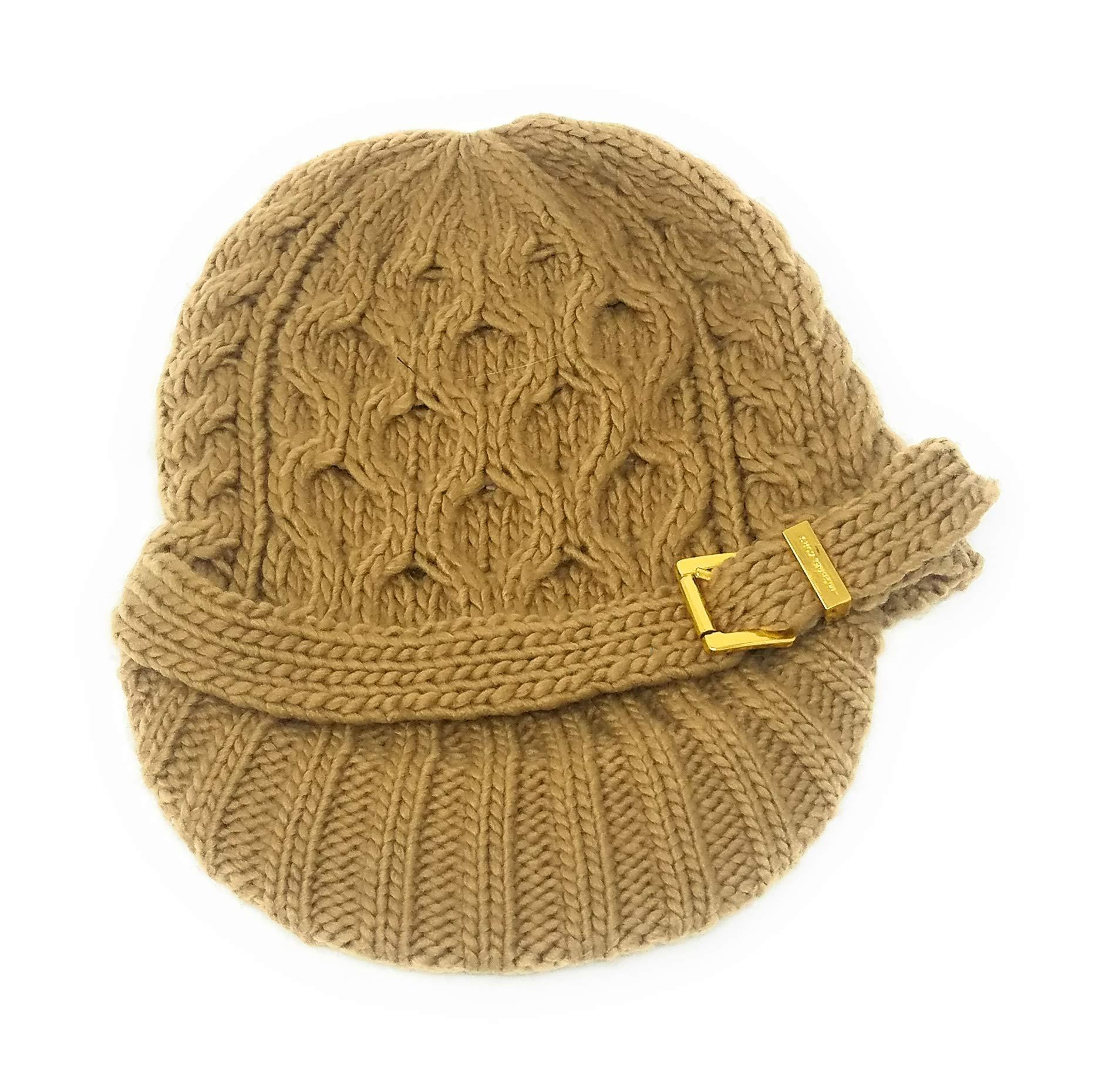 Michael Kors Cable Knit Newsboy Buckle Hat,Camel by Michael Michael Kors